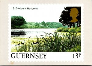 St. Saviour's Reservoir Guernsey Channel Islands stamp vtg postcard