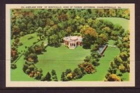 Virginia Post card  air view Monticello Jefferson