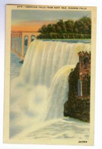 American Falls from Goat Isle, Niagara Falls, unused Metrocraft Linen PPC
