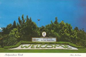 Bahamas Freeport Independence Circle Welcome Sign