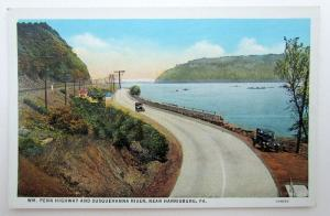 VINTAGE POSTCARD WM. PENN HIGHWAY & SUSQUEHANNA RIVER NEAR HARRISBURG PA CARS