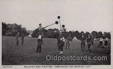 Mounted Mop Fighting, postcard postcards