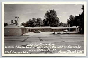 Ames Iowa~HL Freel's Campus Court Motel~US 30~Lincoln Highway~1950s Cars~RPPC