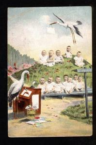 049762 MULTIPLE BABIES School & STORK vintage