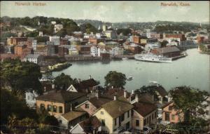 Norwich CT Harbor Birdseye View c1910 Postcard