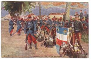 French Infantry Army Tricolore Les Coleurs Flag Military France 1910c postcard