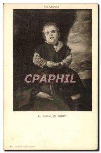 Postcard Old Velazquez El Bobo De Coria Nain