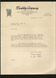 Dunkley Company Kalamazoo Mich 1924 Stationary Used PLEASE READ NOTE