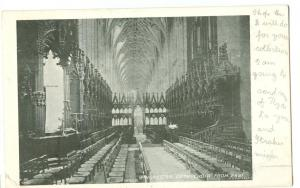Winchester Cathedral, Choir from East, 1904 used Postcard