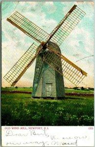 Vintage NEWPORT Rhode Island Postcard OLD WIND MILL Windmill 1907 Cancel