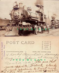 1910 Missoula MT McKay RPPC: Northern Pacific Rwy Locomotive Takes on Water