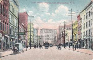 Trolley and Horse Drawn Vehicles Main Street Binghamton NY New York pm 1908 - DB