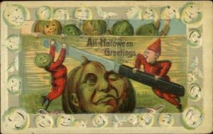 Halloween Imps Cut JOL w/ Butter Knife #1028 c1910 Postcard