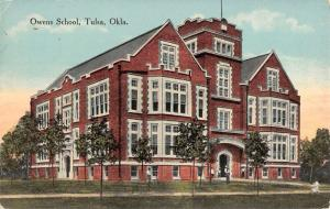 Tulsa Oklahoma Owens School Street View Antique Postcard K38937