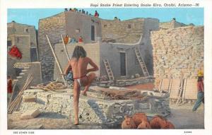 13576 Hopi Snake  Priest entering snake  Kiva, Oraibi, Arizona