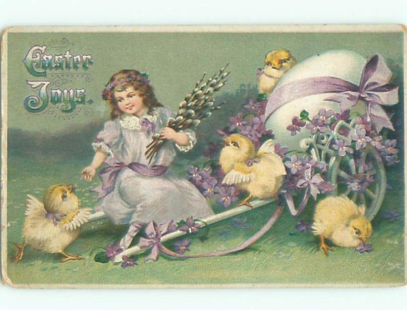 Pre-Linen easter CUTE GIRL SITS ON EGG CART BESIDE CHICKS W7034