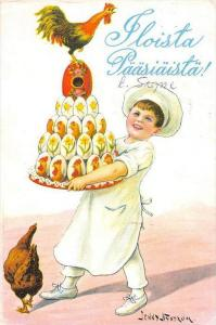 25433 Floista Paasiasta, Happy Easter Child Chef Tray of Decorated Eggs,Jenny...