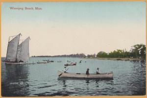 Winnipeg Beach, Manitoba - Sail boat & Row Boats along the shore -