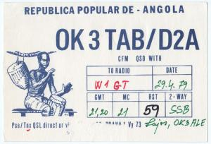 QSL, OK3TAB/D2A, Angola, 1979