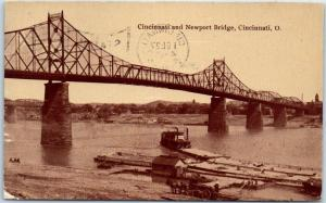 Cincinnati, Ohio Postcard Cincinnati & Newport Bridge River Scene 1911 Cancel