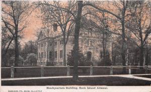 Headquarters Bldg., Rock Island, Arsenal, Illinois, Early Postcard, Used in 1910