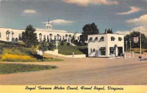Front Royal VA~Terrace Motor Court~Roadside Mobilgas Service Station~1950 Linen