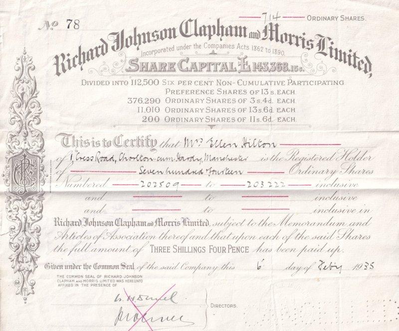 Manchester Builder Merchants Ironmongers 1935 Stock Exchange Share Certificate