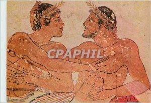 Postcard Modern Paestum erotic szene (detail) of the second wall long the tom...