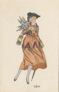 ART DECO ; Female wearing brown/red dress holding flowers, 1910-20s