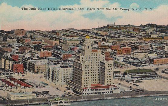 The Half Moon Hotel Boardwalk and Beach Coney Island Postcard