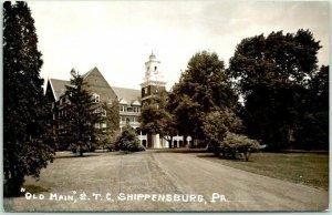 SHIPPENSBURG, Pennsylvania RPPC Photo Postcard OLD MAIN, S.T.C. 1956 Cancel