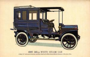 Postcard Vintage Car 1907 30hp White Steam Car Original Fine Art Repro Card