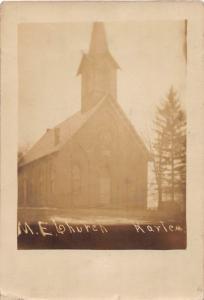E73/ Harlem Ohio RPPC Postcard c1910 M.E. Church Building