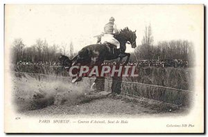 Old Postcard Horse Riding Equestrian Sports Racing of Paris & # 39Auteuil hed...