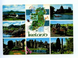 196058 IRELAND map photo collage RPPC 1989 year to USSR