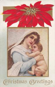 Chrostmas Greetings, Poinsettia, Madonna and child, PU-1915