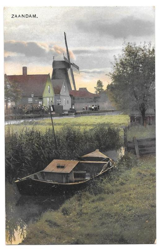Netherlands Holland Zaandam Windmill Dutch Boat Postcard