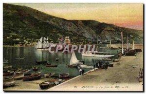 Menton Postcard Old Mole taking view