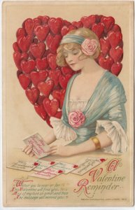 John Winsch 1913 , VALENTINE ; Woman reads Letters