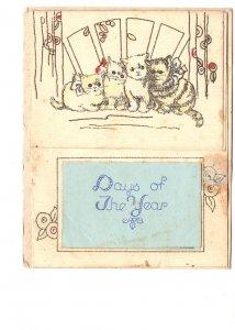 1935 Calendar Christmas Card, Kittens,  Port Hawkesbury Nova Scotia