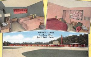 Meridian Mississippi scenic views Virginia Court motel antique pc Z23585