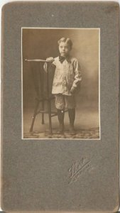 Vintage Cabinet Card, Little Boy in Pinstripe Suit Striking a Pose
