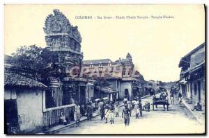 Postcard Old Sea Street Colombo Chetty Hindu Temple Sri Lanka
