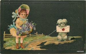 Artist impression 1908 Cute Girl Bonnett Girl Letter postcard 8099