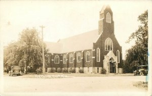 RPPC  EVART, MICHIGAN MI ~ M.E. CHURCH  1946  Osceola County Postcard