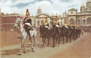 The Royal Horse Guards (The Blues) at Whitehall Vintage Salmon postcard