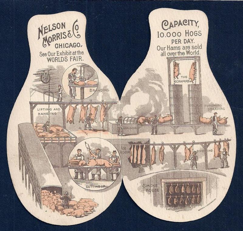 VICTORIAN TRADE CARD Nelson Morris & Co Hams