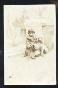 RPPC CUTE MEXICAN GIRL WITH POODLE DOG TO SEDALIA MISSOURI REAL PHOTO POSTCARD