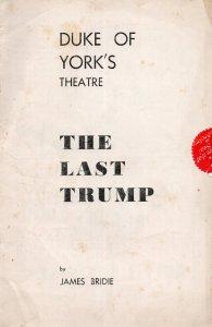 The Last Trump Not Donald James Bridie Seymour Hicks Theatre Programme