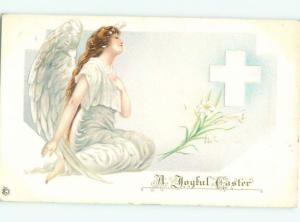 Pre-Linen Easter BEAUTIFUL ANGEL WITH LILY FLOWERS AND JESUS CROSS AB4058